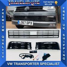 VW T6 Lower Grille & Light Bar Drl Kit Painted Gloss Black Transporter 15 Radar
