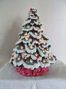 "Vtg Nowell's Inc. 1990 Ceramic Christmas Tree Lighted w/ Base Snow Tips 17"""