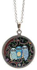 "Earth Dreams 3 OWLS Pendant NECKLACE 18"" Rhodium Brass Chain - Gift Wrapped Box"