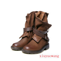 Europe motorcycle mid calf boots flat round toe buckle slouch suede leather shoe