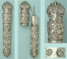 Outstanding Ornate Antique Silver Needle Case * Germany * Circa 1850