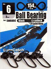 SURE CATCH Moschettoni  Black Ball Bearing Coast Lock Swivel Solid Ring - Size 6