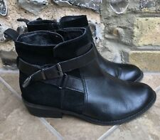 Womens Footglove Ankle Boots UK 3.5 Black Suede Leather Zip up Block Heel Buckle