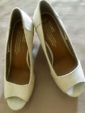 TOMS Women Peep Toe Cork Wedge Heel Shoe Size 5