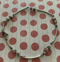 """Brighton DIANA Pearls & Square Beads Cubes Silver Toggle Choker Necklace 17"""""""