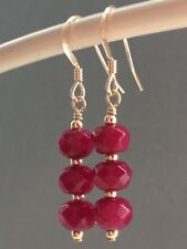 Beautiful Natural Ruby Faceted  Rondelle Gemstones 14ct Rolled Gold Earrings