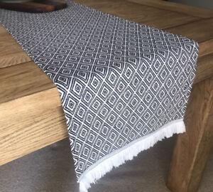 Geometric Diamond Black & White Woven Table Runner Geo Tassels 190cm x 32cm NEW