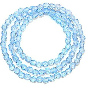 CZ2142 Sapphire Blue 4mm Fire-Polished Faceted Round Czech Glass Beads 16""