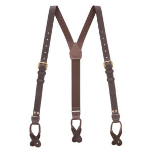 Buckle Strap Leather Suspenders - 1-Inch, Button