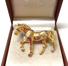 Vintage 1980's Gold Tone  Horse Brooch Pin
