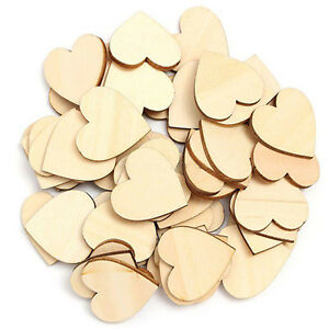 FT- New 50Pcs/set Wooden Love Hearts Shapes DIY Hanging Heart Plain Craft Optima