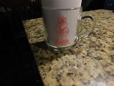 Marshall Fields 1997 Santa Bear Christmas Mug Cup Glass Vintage Red Luminarc