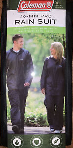 Mens Women Coleman .10-MM PVC Rain Suit,Jacket and Pants XL Black Unisex