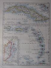 1904 MAP ~ CUBA BRITISH HONDURAS GREATER ANTILLES WINDWARD  LEEWARD ISLANDS