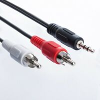 1m Cinch zu 3,5mm Klinke AUX Audio Kabel | 2x Cinch RCA Stecker auf Klinke