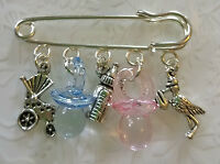 Twins~Baby brooch~cross gift~baby changing bag charm~baby shower~christening