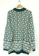 GAP Mens Green & White Winter Snowflake Thick High Neck Sweater Size Large