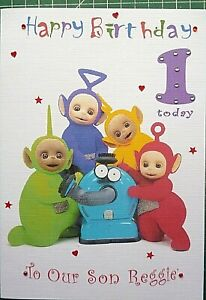 Hand made personalised Teletubby Birthday card -- 4 Sizes - any age