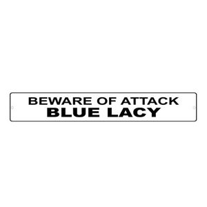 Aluminum Weatherproof Road Street Signs Blue Lacy Dog Beware of Home Decor Wall