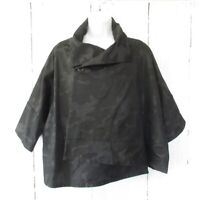 Sun Kim Jacket S Black Camo Camouflage Boxy Asymmetric Lagenlook Art To Wear