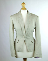 Womens Beige Suit Jacket 12 Marks & Spencer Linen Regular Hip Length Plain