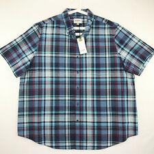 Goodfellow & Co Mens Size 3XB Shirt Short Sleeve Blue Plaid Button Up
