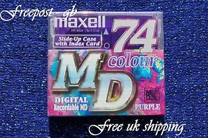 MAXELL 74 MINUTE RECORDABLE AUDIO MINIDISC - MD74 - COLOURS RANGE