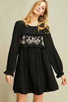Entro Black Floral Embroidered Long Sleeve Ruffled Dress Size Small Medium Large