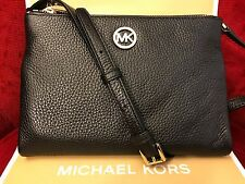 NWT MICHAEL MICHAEL KORS PEBBLED LEATHER FULTON EW CROSSBODY BAG IN BLACK