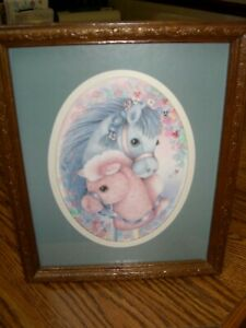 """Classic/Vintage Nursery Hobby Horse Picture- Wood Embossed Frame (9"""" x 11.5"""