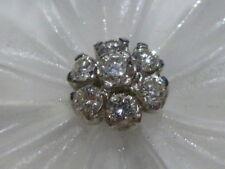 TONY WHITE SYDNEY AUSTRALIA FROSTED GLASS FLOWER DIAMOND CLUSTER PENDANT BROOCH