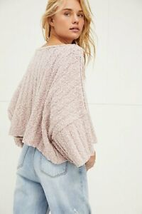 New Free People Good Day Cropped Pullover Sweater In Mauve Mousse Size Small