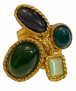 Stunning Bronze Ring with 4 Semiprecious Green stones Turkish Size 6 gold plated