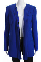 Rachel Roy Womens V Neck Ruffle Blazer Jacket Blue Size 6