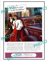 OLD LARGE HISTORIC ADVERTISING POSTER, CADILLAC FLEETWOOD MOTOR CAR c1940