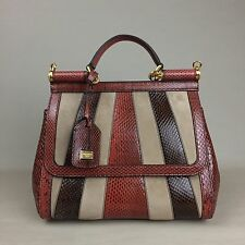 New DOLCE & GABBANA Miss Sicily Snakeskin Suede Striped Brown Medium Bag Handbag