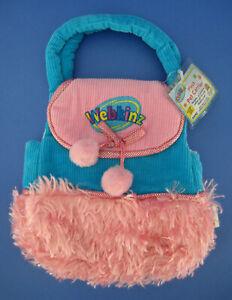 Ganz Webkinz Stuffed Plush Pet Carrier HC076 Blue Corduroy Pink Fur