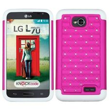 FOR LG Optimus L70 PINK WHITE DIAMOND HYBRID HARD CASE COVER + CLEAR SCREEN FILM