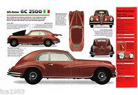 ALFA ROMEO 6C 2500 SPEC SHEET / Brochure / Prospekt: 1946,1947,1948