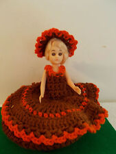 Vintage Handcrafted Doll Saucer/Plate with Crochet/Knitted Brown/Rust Dress