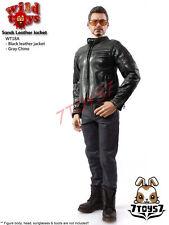 Wild Toys 1/6 Sands_Black motorbiker Jacket Set w/ Grey pants_Leather-lik WT021X