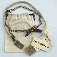 Diesel Mens Woneck Dog Tag Necklace Leather Metal BNWT s m l xl 34 Jeans RRP £59