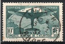 "FRANCE STAMP TIMBRE 321 "" TRAVERSEE ATLANTIQUE SUD 10F VERT "" OBLITERE TTB M820"