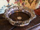 Lovely 19thC Ornate English Silver plate & Oak Wine Champagne Coaster C1890