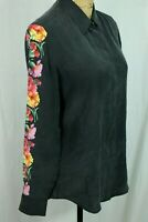 Equipment Femme S 100% Silk Blouse Floral Sleeve Black Covered Placket Collared