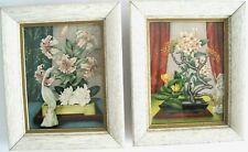 Vintage Mid Century Set of 2 Asian Bonsai Flowers Crane Bird Art Prints Framed