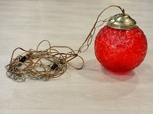 Vintage Hanging Red Swag Glass Lamp Mid Century Globe Light With Chain