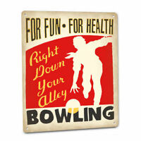 BOWLING Alley SIGN Bowler Ball Retro League Tournament technique hook