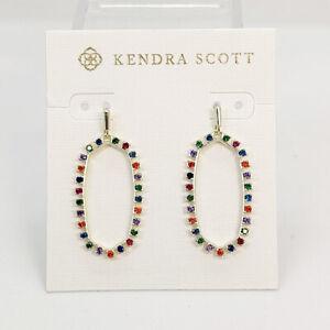 New Kendra Scott Elle Open Frame Multi-color Crystal Drop Earrings In Gold