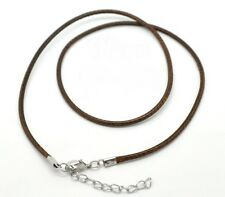 2x Halskette Baumwolle gewachst Braun ca. 47cm Verschluss Blei- und Nickelfrei